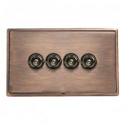 Hamilton Linea-Rondo CFX Copper Bronze with Copper Bronze Frame 4 gang 20AX 2 Way Toggle