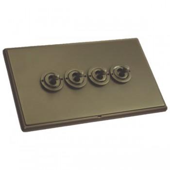 Hamilton Linea-Rondo CFX Richmond Bronze with Richmond Bronze Frame 4 gang 20AX 2 Way Toggle