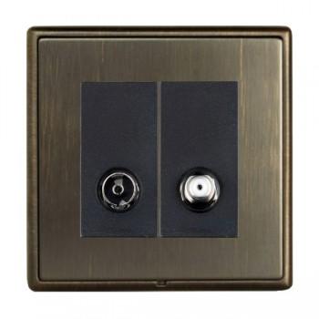 Hamilton Linea-Rondo CFX Etrium Bronze with Etrium Bronze Frame 2 gang Non-Isolated TV+Satellite 2in/2out