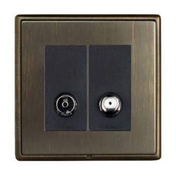 Hamilton Linea-Rondo CFX Richmond Bronze with Richmond Bronze Frame 2 gang Non-Isolated TV+Satellite 2in/2out