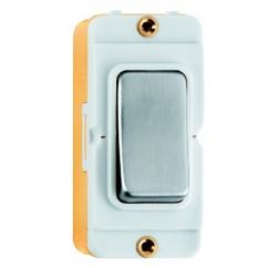 Hamilton Grid Fix Insert Rocker 2 Way 20AX Satin Steel/White with White Insert
