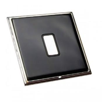 Hamilton Linea-Scala CFX Piano Black with Bright Chrome Frame 1 gang 250W/210VA Multi-Way Touch Master Trailing Edge Dimmer