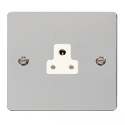 Click Define Polished Chrome Flat Plate 2A Round Pin Socket Outlet with White Insert