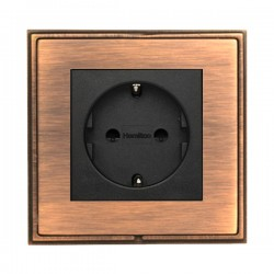 Hamilton Linea-Scala CFX Copper Bronze with Copper Bronze Frame 1 gang 10/16A 220/250V AC German Unswitched Socket