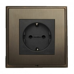 Hamilton Linea-Scala CFX Etrium Bronze with Etrium Bronze Frame 1 gang 10/16A 220/250V AC German Unswitched Socket