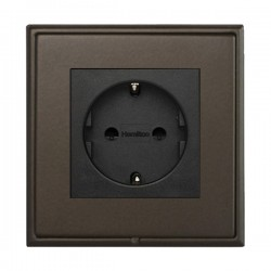 Hamilton Linea-Scala CFX Richmond Bronze with Richmond Bronze Frame 1 gang 10/16A 220/250V AC German Unswitched Socket