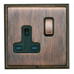 Hamilton Linea-Scala CFX Copper Bronze with Copper Bronze Frame 1 gang 13A Double Pole Switched Socket