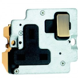 Hamilton Grid Fix Insert 1 Gang 13A Switched Socket Antique Brass/Black with Black Insert