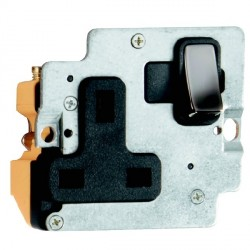 Hamilton Grid Fix Insert 1 Gang 13A Switched Socket Black Nickel/Black with Black Insert