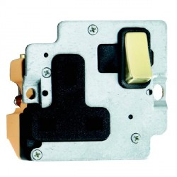 Hamilton Grid Fix Insert 1 Gang 13A Switched Socket Polished Brass/Black with Black Insert