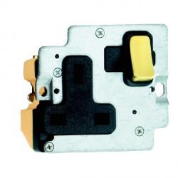 Hamilton Grid Fix Insert 1 Gang 13A Switched Socket Satin Brass/Black with Black Insert