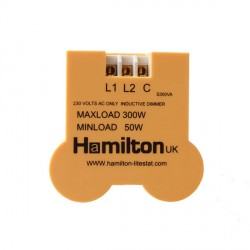 Hamilton 1 gang 300VA 2 Way Leading Edge Push On/Off Inductive Dimmer