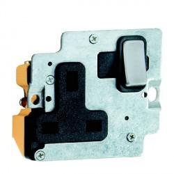 Hamilton Grid Fix Insert 1 Gang 13A Switched Socket Satin Steel/Black with Black Insert