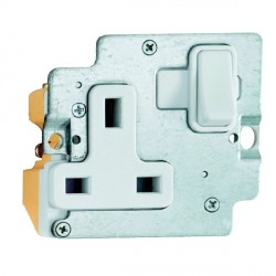 Hamilton Grid Fix Insert 1 Gang 13A Switched Socket White/White with White Insert