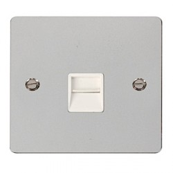 Click Define Polished Chrome Flat Plate Single Telephone Socket Secondary with White Insert