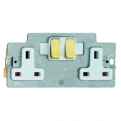 Hamilton Grid Fix Insert 2 Gang 13A Switched Socket Satin Brass/White with White Insert