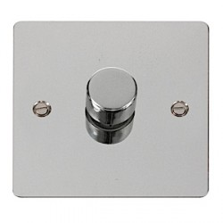 Click Define Flat Plate Polished Chrome 1 Gang 400W Dimmer Switch