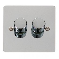Click Define Flat Plate Polished Chrome 2 Gang 400W Dimmer Switch