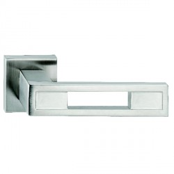 Hamilton Luxury Door Handle Pair of 2735 Satin Steel Handle/Satin Steel Plate