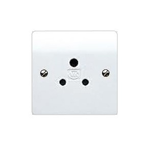 MK Electric Logic Plus™ White 5A 1 Gang Unswitched Round Pin Socket