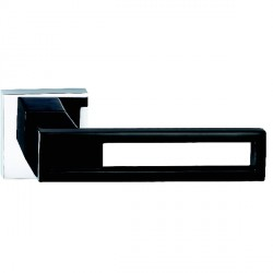 Hamilton Luxury Door Handle Pair of 2737 Piano Black Handle/Bright Chrome Plate
