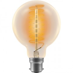 Crompton Lamps Antique Decorative Range AB011 80mm Globe Lamp G80 60W BC Spiral Filament Light Bulb
