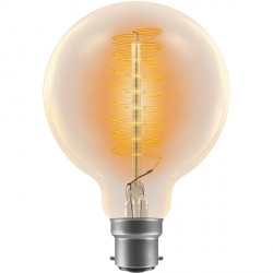 Crompton Lamps Antique Decorative Range AB013 95mm Globe Lamp G95 60W BC Spiral Filament Light Bulb