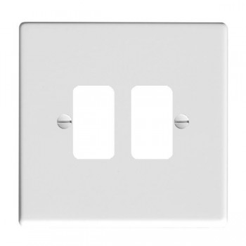 Hamilton Hartland Grid Gloss White 2 Gang Grid Fix Aperture Plate with Grid