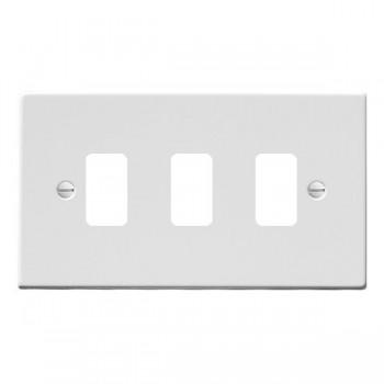 Hamilton Hartland Grid Gloss White 3 Gang Grid Fix Aperture Plate with Grid