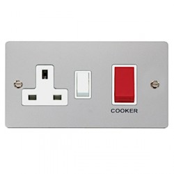 Click Define Polished Chrome Flat Plate 45A Double Pole Switch and 13A Double Pole Switched Socket with White Insert