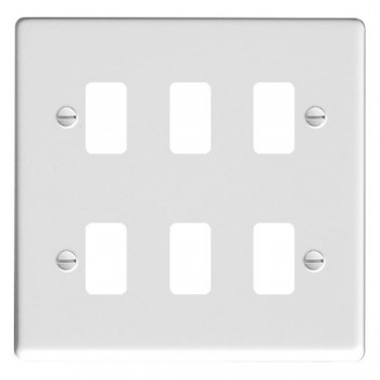 Hamilton Hartland Grid Gloss White 6 Gang Grid Fix Aperture Plate with Grid