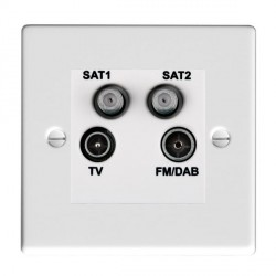 Hamilton Hartland Gloss White TV+FM+SAT+SAT (DAB Compatible) with White Insert
