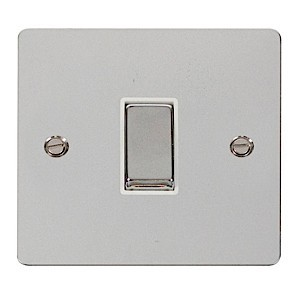 Click Define Polished Chrome Flat Plate Ingot 10AX 1 Gang 2 Way Switch with White Insert