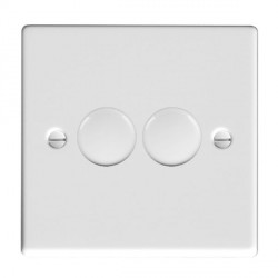Hamilton Hartland Gloss White Push On/Off Dimmer 2 Gang 2 way 400W with Gloss White Insert