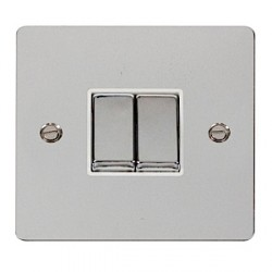 Click Define Polished Chrome Flat Plate Ingot 10AX 2 Gang 2 Way Switch with White Insert