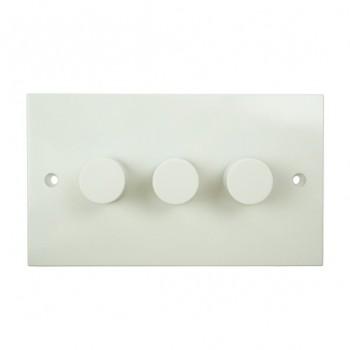 BG White PVC 3 Gang 2 Way Push Dimmer 400W