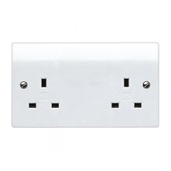 MK Electric Logic Plus™ White 13A 2 Gang Unswitched Socket