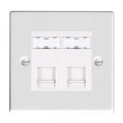 Hamilton Hartland Gloss White 2 Gang RJ45 Outlet Cat 5e Unshielded with White Insert