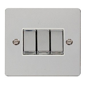 Click Define Polished Chrome Flat Plate Ingot 10AX 3 Gang 2 Way Switch with White Insert
