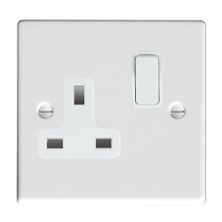 Hamilton Hartland Gloss White 1 Gang 13A Switched Socket - Double Pole with White Insert