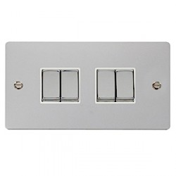 Click Define Polished Chrome Flat Plate Ingot 10AX 4 Gang 2 Way Switch with White Insert