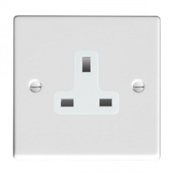 Hamilton Hartland Gloss White 1 Gang 13A Unswitched Socket with White Insert