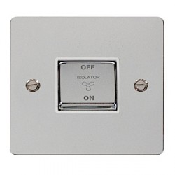 Click Define Polished Chrome Flat Plate Ingot 10A 3 Pole Fan Isolation Switch with White Insert