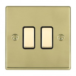 Hamilton Hartland Polished Brass 2 Gang Multi way Touch Master Trailing Edge with Black Insert