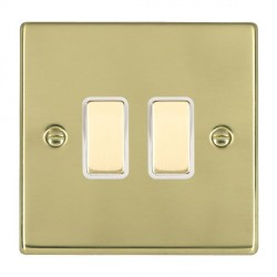 Hamilton Hartland Polished Brass 2 Gang Multi way Touch Master Trailing Edge with White Insert