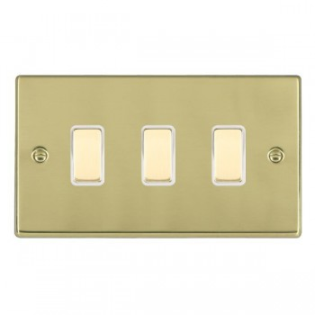 Hamilton Hartland Polished Brass 3 Gang Multi way Touch Master Trailing Edge with White Insert