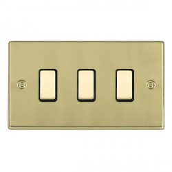 Hamilton Hartland Polished Brass 3 Gang Multi way Touch Slave Trailing Edge with Black Insert