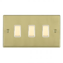Hamilton Hartland Polished Brass 3 Gang Multi way Touch Slave Trailing Edge with White Insert