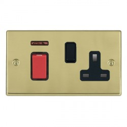 Hamilton Hartland Polished Brass 1 Gang Double Pole 45A Red Rocker + 13A Switched Socket with Black Insert