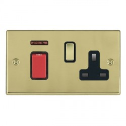 Hamilton Hartland Polished Brass 1 Gang Double Pole 45A Red Rocker + 13A Switched Socket with Black Inser...